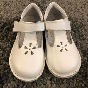 Girls Kid Express White Leather Velcro Shoes